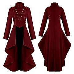 COCD Women's Steampunk Jacket Victorian Irregular Tailcoat Vintage Gothic Tuxedo Coat Holloween Costume Burgundy #2