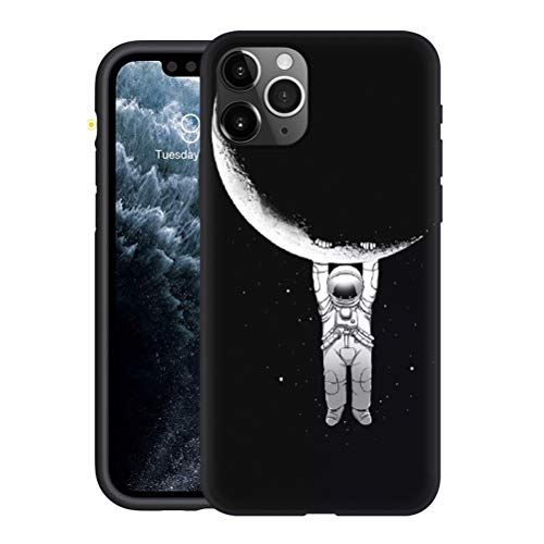 Yoedge Apple iPhone 12/12 PRO 6.1 inch Case, Black Silicone with Personalised Print Astronaut Patterned Protective Cover Ultra Slim Shockproof TPU Gel Phone Cases for iPhone12 Smartphone, 27