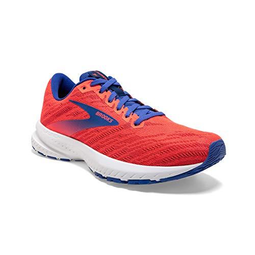 Brooks Womens Launch 7 Running Shoe - Coral/Claret/Blue - B - 7.5