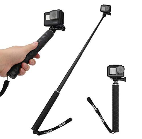 AuyKoo Selfie Stick Kohlefaser Ausziehbare Schwimmende Stange für GoPro Hero 9 Black 8 7 6 5 Black GoPro Max Fusion Kameras Insta360 ONE R 4K DJI Osmo Akaso