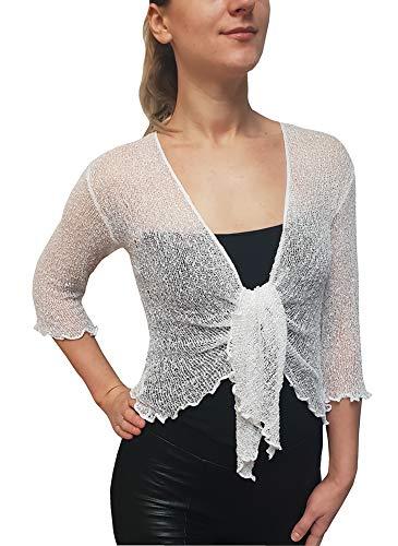 Mimosa Mujeres Talla Extra Crochet Bolero Brillo y Liso de Encaje Elastico Cardigan Abierto (Talla única, White)