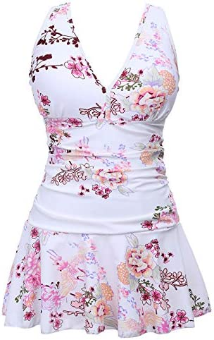COCOPEAR Women s Puls Size Tummy Control One Piece Swimdress Shaping Body Swimsuit FBA Floral product image