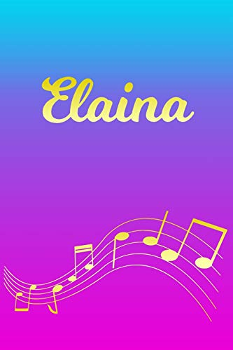 Elaina: Sheet Music Note Manuscript Notebook Paper – Pink Blue Gold Personalized Letter E Initial Custom First Name Cover – Musician Composer … Notepad Notation Guide – Compose Write Songs