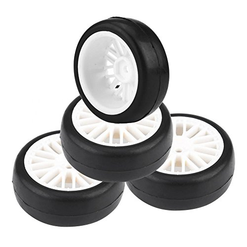 Dilwe Auto Reifen 4Pcs RC, Gummireifen Innere Sponge Wheel Hubs Kanten glattes Oberflächen Reifen für 1/10 RC(Weiß)