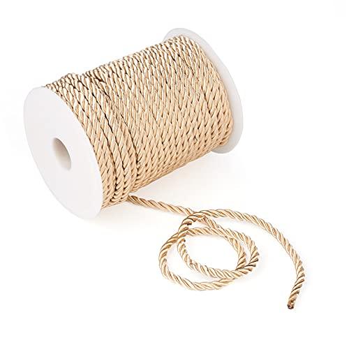 Beadthoven - Rollo de cordón trenzado de macramé de 5 mm, 3 hebras, de poliéster brillante, para colgar en la pared, colgar plantas, tejer pulseras trenzadas, suministros de...