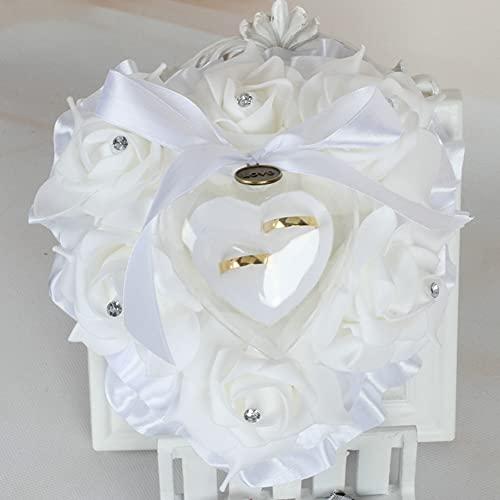 Caja de anillo de rosa en forma de corazón Almohada de anillo...