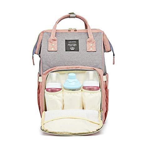 Bolsa Mochila Maternidade cinza com rosa