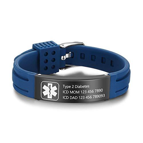 """Lam Hub Fong 9"""" Pulsera Alerta Médica Personalizable Pulsera de Silicona Ajustable impermeabl Medical de Identificación para Niño Mujere Hombres Acero Inoxidable Medical Pulsera (Azul (Blue))"""