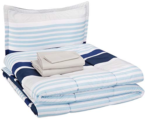 AmazonBasics Easy Care Super Soft Microfiber Kid's Bed-in-a-Bag Bedding Set - Twin, Navy Stripes