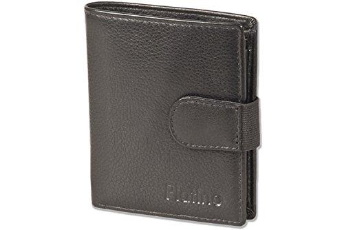 Supermoderne Geldbörse mit 16 Klarsicht-Kreditkartentaschen und aus sehr hochwertigem, naturbelassenem Rindsleder in Schwarz