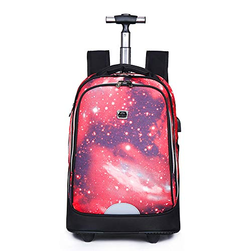 FREETT Unisex Trolley Backpack, High Capacity Trolley Suitcase, Luggage Case Bag for Child Student and School, Waterproof,6