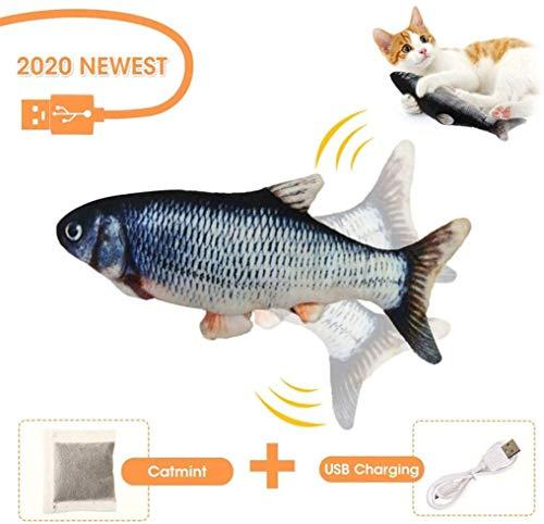 BTkviseQat Spielzeug mit Katzenminze, Elektrische Fische Katze, Katze Interaktive Spielzeug, Simulation Plush Fisch, Kissen Kauen Spielzeug für Katze, Kitty zu Spielen, Beißen, Kauen,Treten