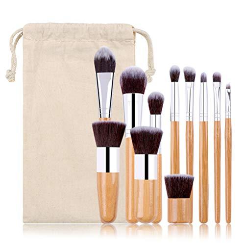 Koowaa 11 Pcs Maquillage Brosse Ensemble Professionnel Bambou Poignée Maquillage Cosmétique Fard À Paupières Fondation Correcteur Pinceau Ensemble