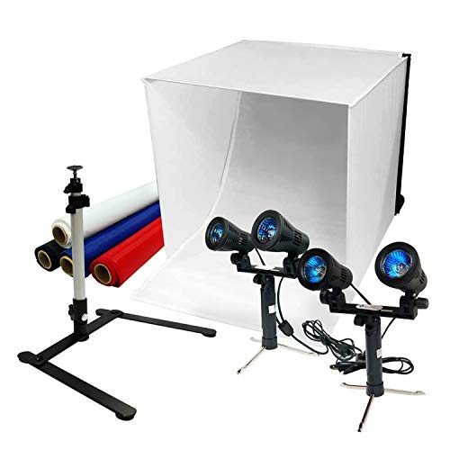"""LimoStudio 24"""" Table Top Photography Studio Light Tent Kit in a Box - Photo Tent, 2x Double Head Light Set, Mini Camera Stand, AGG903V2"""
