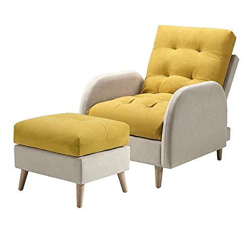 N/Z Home Equipment Farbabstimmung Lounge Stühle Sofa Klappbare Single Recliner Couch Möbel mit Hocker 5 Positionen Verstellbare Rückenlehne Geeignet für Home Office Wohnzimmer oder Balkon Gelb