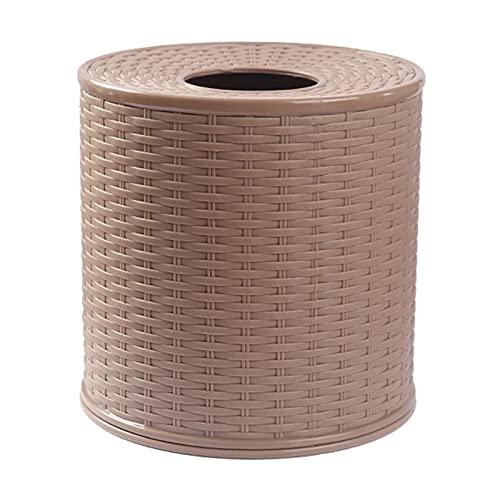 caja de pañuelos Tapa redonda a prueba de polvo Estilo de ratán Vintage servilleta Rollo de papel Titular de papel Titular de papel de escritorio Decoración de la casa Caja de tejido de cocina