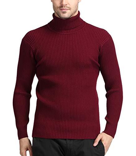 Vorgelen Maglione con Collo Alto Pullover da Uomo Lunga Slim-Fit in Maglia a Manica Abbottonatura