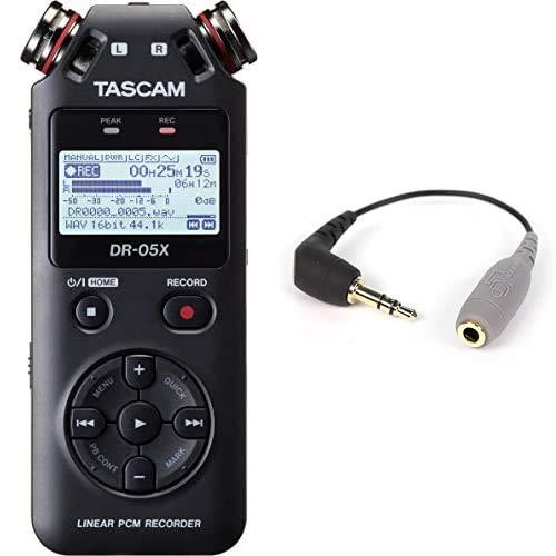 Tascam DR-05X Tragbarer Audio-Recorder und Rode TRRS auf TRS Adapter schwarz