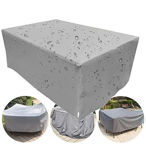 Cubiertas de muebles de jardín impermeables, cubos, cubiertas rectangulares para muebles de jardín de ratán y juegos de muebles, a prueba de viento a prueba de polvo anti-UV, gris