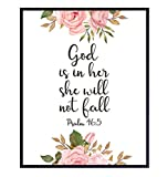 God is Within Her She Will Not Fall - Psalm 46 - Positive Quotes Inspirational Christian Wall Decor - Motivational Bible Verse Wall Art - Scripture Decor - Uplifting Gift for Religious Women, Girls