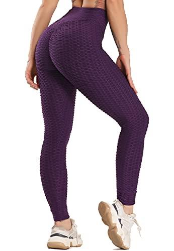 SEASUM Leggins Donna Sportivi Anticellulite Pantaloni Nido d'Ape 3D Leggings Compressione Push up Vita Alta Yoga Pants Elastici Collant Palestra Allenamento, A-Viola L