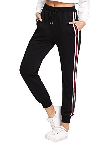 SweatyRocks Women's Drawstring Waist Striped Side Jogger Sweatpants with Pockets,Black,X-Small