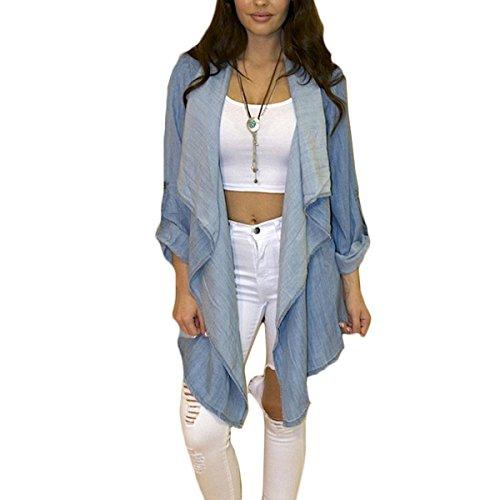 Fanmay Abrigo elegante para mujer, de manga larga, sin cierre, asimétrico, informal, chaqueta vaquera, para exterior azul M