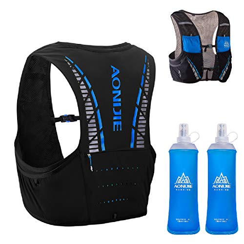 TRIWONDER Sac Trail 5L Sac d'hydratation Running Gilet Hydratation Trail Sac à Dos Veste Running Léger pour Marathon Homme Femme (Bleu & Noir - avec 2 Bouteilles d'eau Souple, L/XL - 102-115 cm)