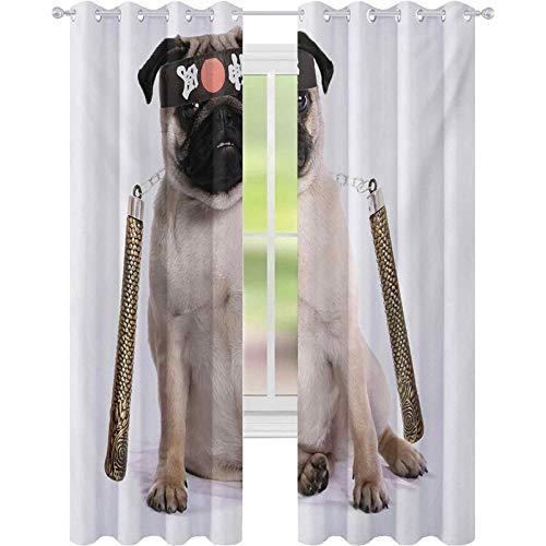 Cortinas aisladas trmicas, diseo de cachorro ninja con nunchuk Karate Dog Warrior inspirado en el disfraz de pug, W52 x L108 cortinas de ventana para habitacin de bebs, color crema y negro dorado