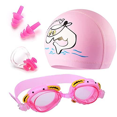 RUSTOO Juego de gorro de natación, gafas de natación, unisex, para niños, gafas de natación, gorro de natación y tapones para los oídos, un juego para satisfacer todas las necesidades