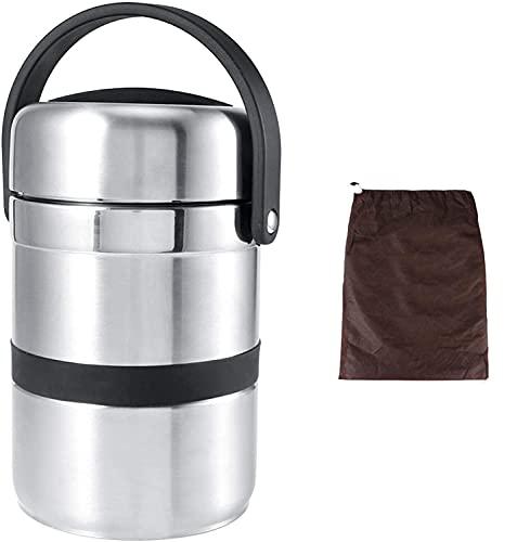 Fiambrera de aislamiento térmico 1.8L, Fiambrera multicapa de acero inoxidable con tapa de sellado de silicona 22.5 x 13.2cm
