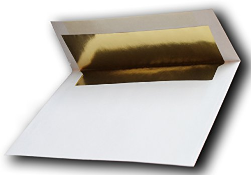 """Gold Foil-Lined 100 Boxed 70lb 5-1/4 x 7-1/4 A7 White Envelopes for 5"""" X 7"""" Invitations Announcements Weddings from The Envelope Gallery"""