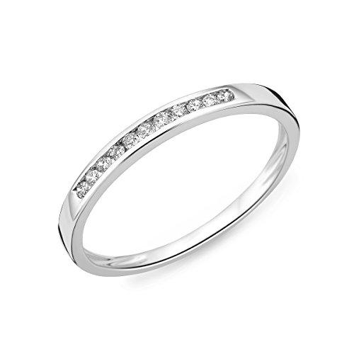 Miore Ring Damen Weißgold Diamant Hochzeitsband 14KT (585) mit Diamant Brillanten 0.10 ct (62 (19.7))