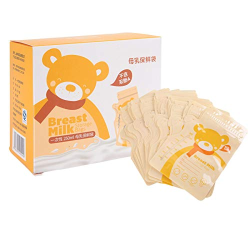 Bolsa sellada para leche materna, diseño de sellado único Herramienta de almacenamiento para bebés Cómodo diseño de boca de botella 30PCS para ahorrar leche para mujeres posparto para uso(amarillo)