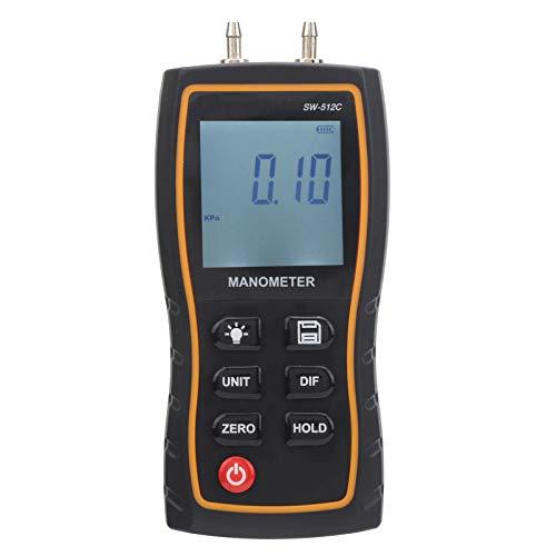 Medidor de presión de aire Manómetro digital Medidor de presión de aire Registrador de datos Pantalla LCD con retención de datos, material de ABS portátil Medición del sistema de aire