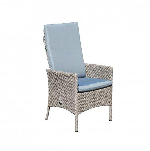 Greemotion 2 Stück Sessel Malmö, 66 x 63,5 x 108 cm, Sitzhöhe ca. 44 cm, Lounge-Sessel mit Stahlgestell/Kunststoffgeflecht, max. 110 kg, in beige/grau
