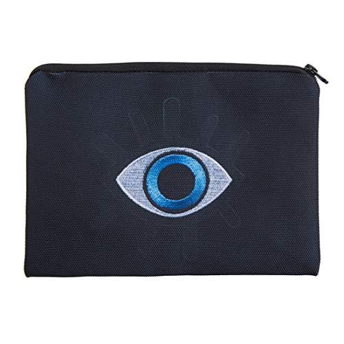 Sac de rangement pour sac cosmétique fashion, sac de maquillage motif imprimé yeux bleu, sac de voyage