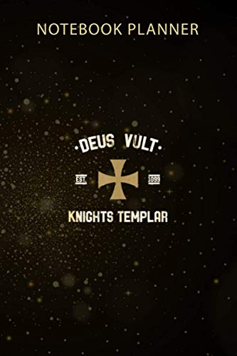 Notebook Planner Deus Vult Knights Templar RetroTypography: Gym, Menu, Agenda, Business, 114 Pages, Organizer, 6x9 inch, Monthly