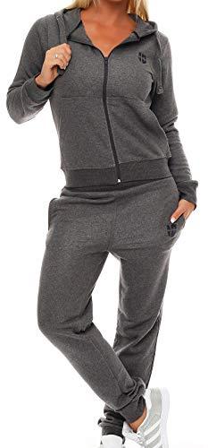 Gennadi Hoppe Damen Jogginganzug Trainingsanzug Sportanzug, grau ,L