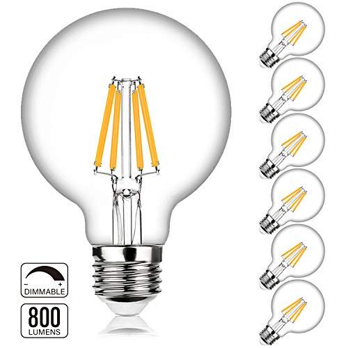 G25 LED Bulb Globe Dimmable Edison Light Bulbs 60W-75W Equivalent, 800Lm Super Bright, 2700K Warm White, E26 Medium Screw Base, 7Watt Omnidirectional Bathroom Vanity Mirror Light, 6-Pack