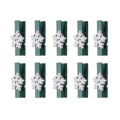 Mini-Weihnachtsklammern aus Holz, Elch, Schneeflocken, Fotoklammern, Papierklemme, Kartenhalter, Wäscheklammern, Weihnachtsdekoration, Geschenke, Party-Dekoration, 10 Stück