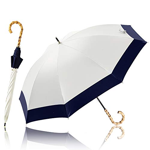 KIZAWA 日傘 長傘 完全遮光 UVカット 1級遮光 耐風 風に強い 撥水 軽量 晴雨兼用 ブランド 女性 レディース バンブー 持ち手 おしゃれ かわいい 母の日 敬老の日 ギフト 誕生日 プレゼント 20代 30代 40代 50代 8本骨 (オフ&ネイビー)