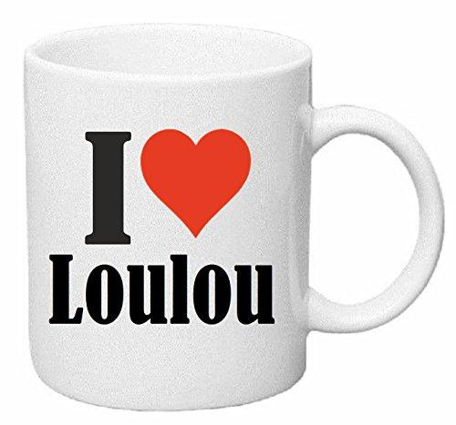 Bandenmarkt koffiemok I Love Loulou keramiek hoogte 9,5 cm ? 8 cm in wit