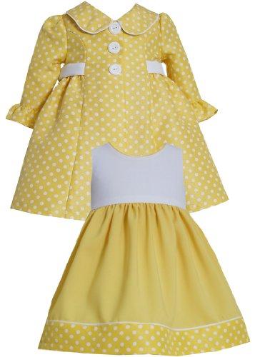 Bonnie Jean Girls 2T-4T 2-Piece Dot Print Jacquard Dress/Coat Set (2T, Yellow)