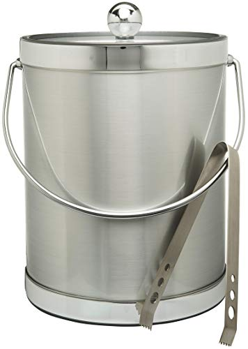 Hand Made In USA Brushed Silver Double Walled 5-Quart Insulated Ice Bucket With Ice Tongs (Metallic Deco Collection)
