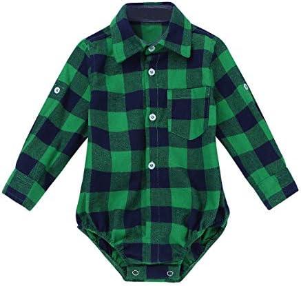 moily Newborns Baby Boys Plaid Short Sleeve Button up Formal Dress Shirt Gentleman Romper Bodysuit product image