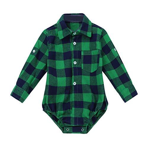 iEFiEL Baby Mädchen Jungen Body Kurzarm/Langarm Bodysuit Baumwolle Strampler Kariertes Hemd mit Kragen Kleinkinder Freizeithemd Shirt Grün 80