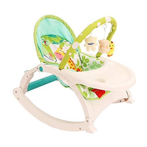 KANGJIABAOBAO Kinderschaukelstuhl Neugeborenen-Kleinkind-tragbare Wippe Multifunktions-Babyschaukelstuhl Geeignet für männliche und weibliche Babys Baby Bouncer-Stuhl und Rocker, (Farbe : Grün)