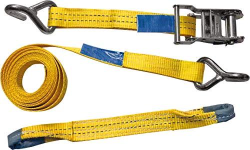 Petex 43193319 Dreipunkt-Autotransport-Zurrgurt 3-teiligLänge 3,3 m, Quergurt 0,4 m, Breite 35 mm, 1000/2000 daNSpitzhaken einfach, gelb