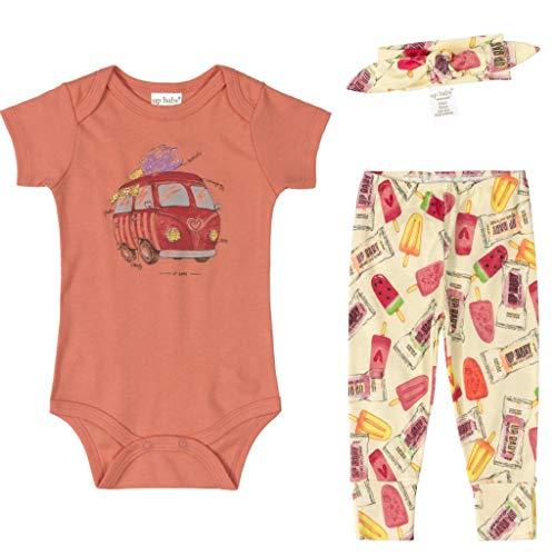 Conjunto Bebê Menina Algodão Body Calça Faixa de Cabelo 03 Peças Roupas de Bebe Sorvetinhos Laranja Up Baby (G 9-12 meses)